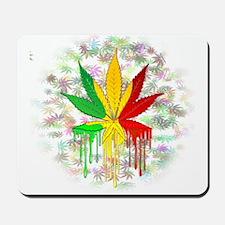Marijuana Leaf Rasta Colors Dripping Paint Mousepa