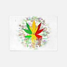 Marijuana Leaf Rasta Colors Dripping Paint 5'x7'Ar