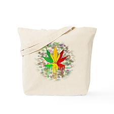 Marijuana Leaf Rasta Colors Dripping Paint Tote Ba