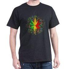 Marijuana Leaf Rasta Colors Dripping Paint T-Shirt
