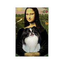 Mona Lisa & Japanese Chin Rectangle Magnet