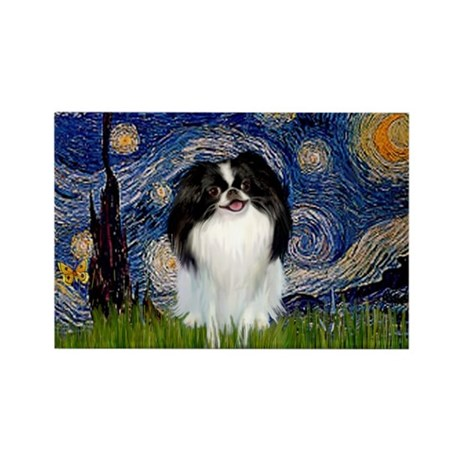Starry Night & Japanese Chin Rectangle Magnet