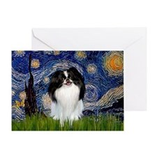 Starry Night & Japanese Chin Greeting Card