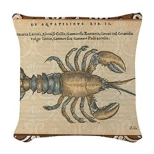 Vintage Lobster illustration Woven Throw Pillow