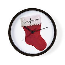 Greyhound Stocking Wall Clock