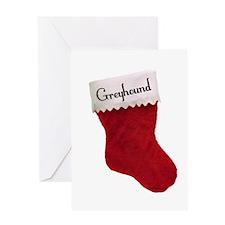 Greyhound Stocking Greeting Card