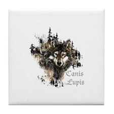 Canis Lupis Forest Wolf Head or Logo Tile Coaster