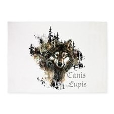 Canis Lupis Forest Wolf Head or Logo 5'x7'Area Rug
