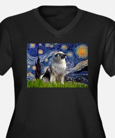 Starry Night & Keeshond Women's Plus Size V-Neck D