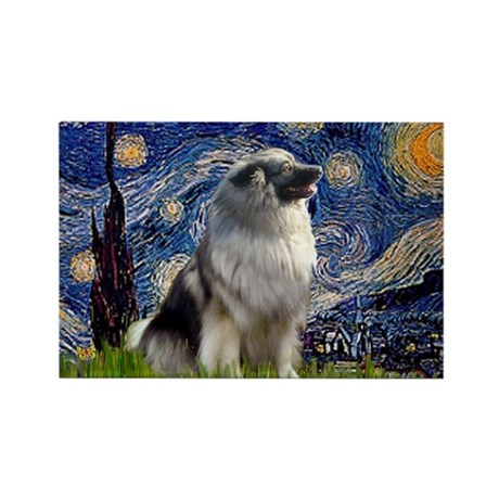 Starry Night & Keeshond Rectangle Magnet