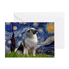 Starry Night & Keeshond Greeting Card