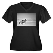 Fast and Fur Women's Plus Size V-Neck Dark T-Shirt