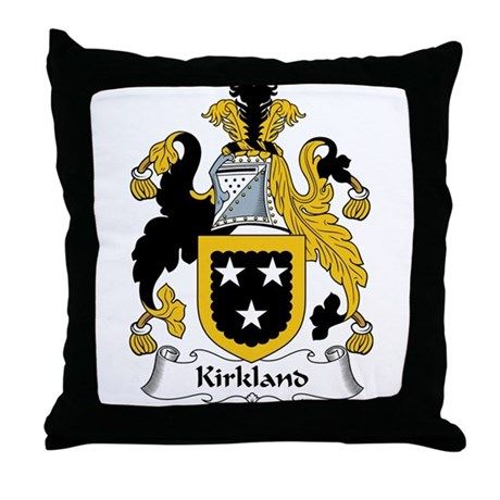 Kirkland Family Crest Throw Pillow by familycoats2
