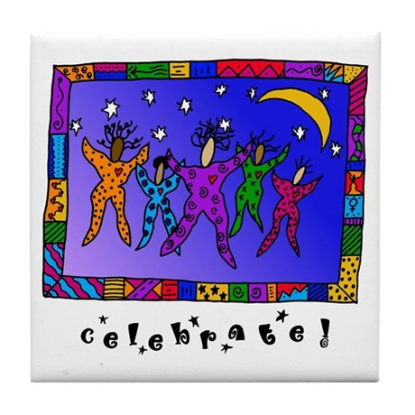 Celebrate! with Wording Tile Coaster