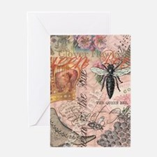 Vintage Queen Bee Collage Greeting Cards