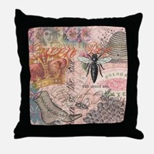 Vintage Queen Bee Collage Throw Pillow