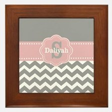 Gray Pink Chevron Monogram Framed Tile