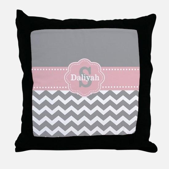 Gray Pink Chevron Monogram Throw Pillow