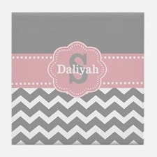 Gray Pink Chevron Monogram Tile Coaster