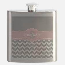 Gray Pink Chevron Monogram Flask
