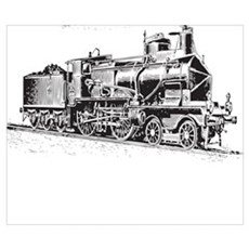 Vintage Steam Locomotive Poster