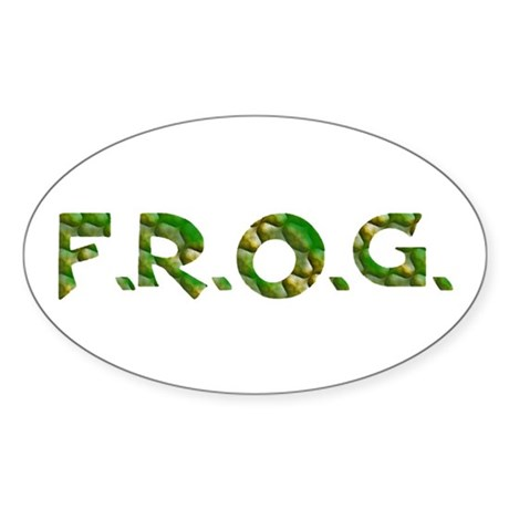Green FROG Scales Oval Sticker