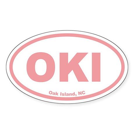 Oak Island OKI Euro Oval Sticker (Pink)