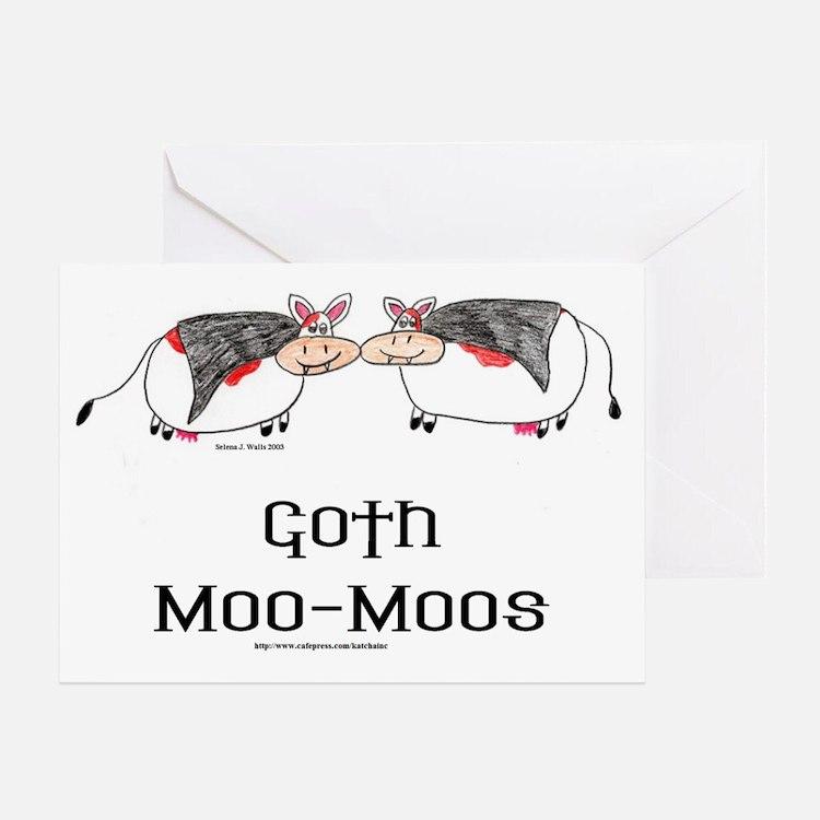 Goth Moo-Moos Greeting Card