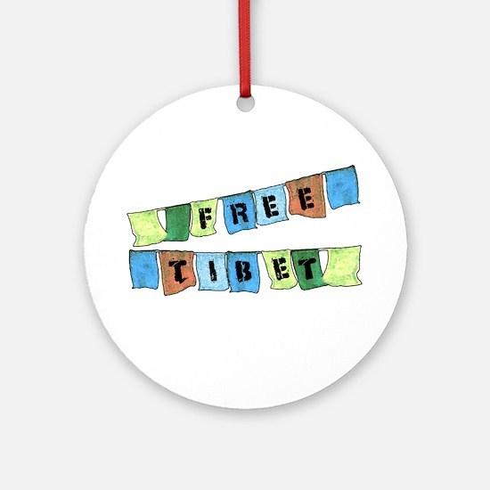 Free Tibet Prayer Flags Ornament (Round)