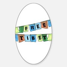 Free Tibet Prayer Flags Oval Decal