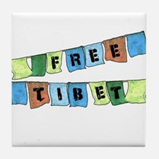 Free Tibet Prayer Flags Tile Coaster
