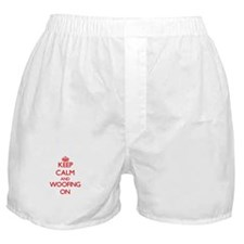 Keep Calm and Woofing ON Boxer Shorts