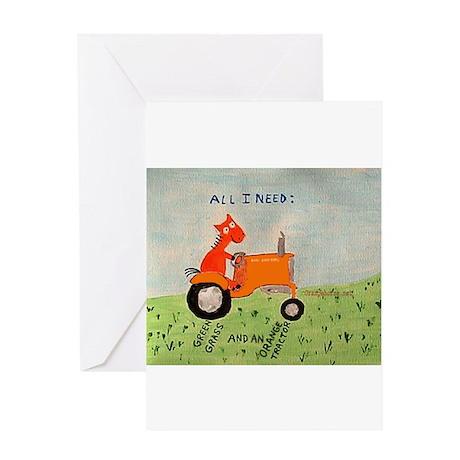 orange tractor Greeting Card
