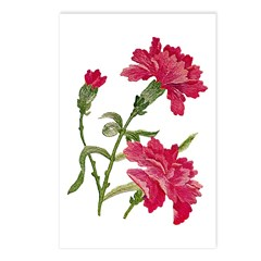 Embroidered carnations Postcards (Package of 8)