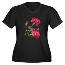 Embroidered carnations Women's Plus Size V-Neck Da