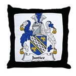 Justice Family Crest Throw Pillow