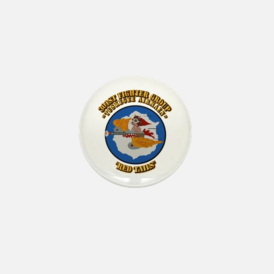 WWII Tuskegee Airmae Red Tail 301st FG Mini Button