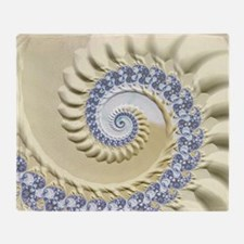 Seashell & Sand Fractal Nature Art Throw Blanket