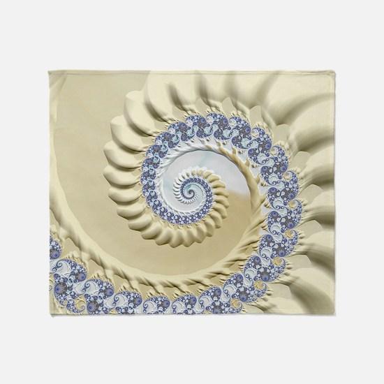 Seashell & Sand Fractal Nature Art Throw Blanket