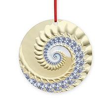 Seashell & Sand Fractal Nature Art Round Ornament
