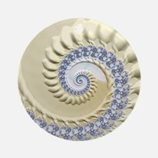 Seashell & Sand Fractal Nature Art Round Ornament