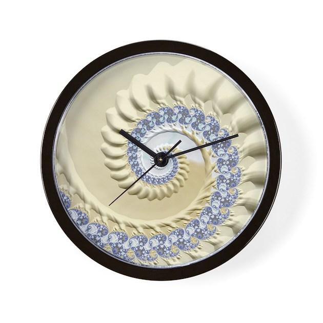 Seashell sand fractal nature art wall clock by listing for Seashell wall clock