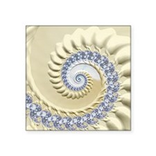 "Seashell & Sand Fractal Nat Square Sticker 3"" x 3"""