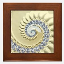 Seashell & Sand Fractal Nature Art Framed Tile