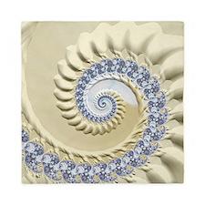 Seashell & Sand Fractal Nature Art Queen Duvet