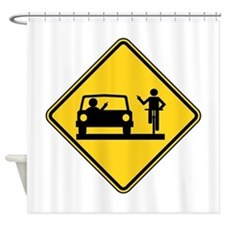 Car vs.Bicycle Road Rage Shower Curtain