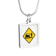 Car vs.Bicycle Road Rage Silver Square Necklace