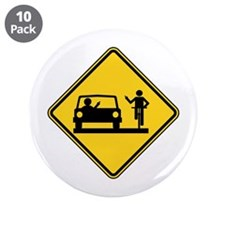 "Car vs.Bicycle Road Rage 3.5"" Button (10 pack)"