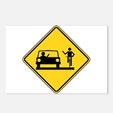 Car vs.Bicycle Road Rage Postcards (Package of 8)