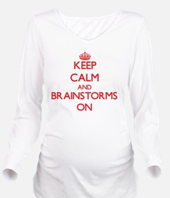 Keep Calm and Brains Long Sleeve Maternity T-Shirt